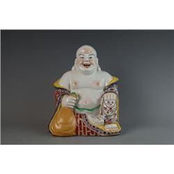 """""""Fu Jian Hui Guan"""" Famille-Rose Figure of Budai."""
