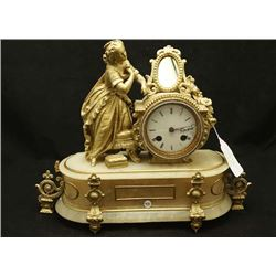 French spelter and alabaster antique desk clock with mirror