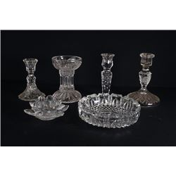 5 Crystal Candlestick and 1 Crystal Ashtray.