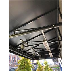 OUTDOOR AWNING WITH MOUNTED ELECTRIC OUTDOOR HEATERS