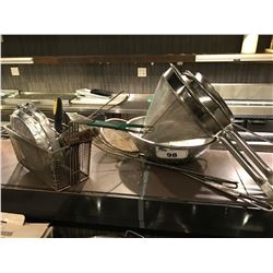 ASSORTED STRAINERS, UTENSILS, ETC