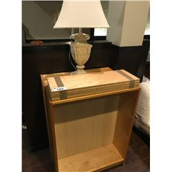 PAIR OF MAPLE BOOKSHELVES WITH TABLE