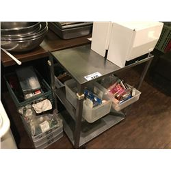 METAL CART WITH ASSORTED RESTAURANT SUPPLIES
