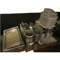 ASSORTED METAL PREP TRAYS/PANS & DISHES