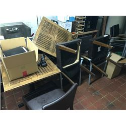 ASSORTED CHAIRS & TABLE