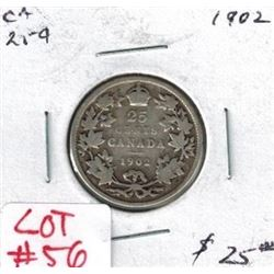 1902 Canadian Silver 25 Cent