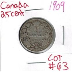 1909 Canadian Silver 25 Cent