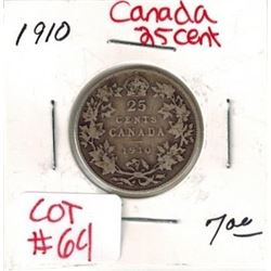 1910 Canadian Silver 25 Cent