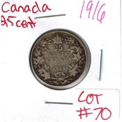 1916 Canadian Silver 25 Cent