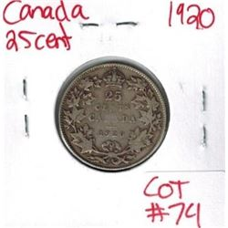 1920 Canadian Silver 25 Cent