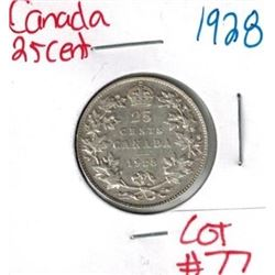 1928 Canadian Silver 25 Cent