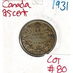 1931 Canadian Silver 25 Cent