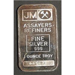 1 oz .999 Fine Silver Bar Johnson Matthey