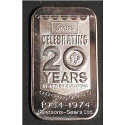 1 oz .999 Fine Silver Bar SEARS BC Western Mint