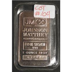 1 oz .999 Fine Silver Bar TD BANK Johnson Matthey