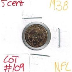 1938 Newfoundland Silver 5 Cent