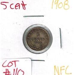 1908 Newfoundland Silver 5 Cent