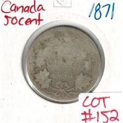 1871 Canada Silver 50 Cent
