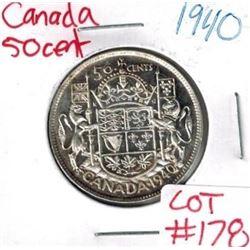 1940 Canada Silver 50 Cent