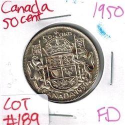 1950 Canada Silver 50 Cent FULL DESIGN