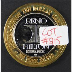 Limited Edition .999 Fine Silver Casino Token HILTON RENO