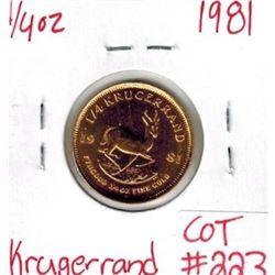 1981 1/4 oz Fine Gold KRUGERRAND South Africa