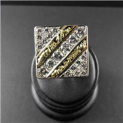 Men's 14 kt Gold Nugget & Diamond Ring