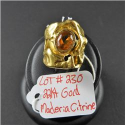 Ladies 22kt Gold ring with Madeira Citrine