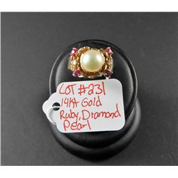 Ladies 14 kt gold ring with Rubies, Diamonds and Akoya Pearl