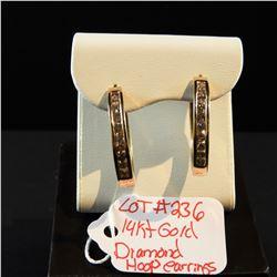 14 kt Yellow Gold Diamond Hoop Earrings 1 ct