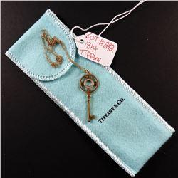18 kt Rose Gold Tiffany & Co Atlas Diamond Key Necklace