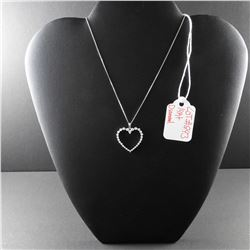 14 kt White Gold Diamond Heart Necklace