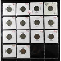 Lot of 14 Canadian 5 Cents (nickel) 1922-1936 NO 1925