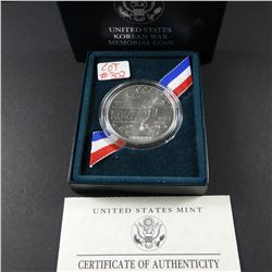 1991 Korean War Memorial UNC Silver Dollar US MInt with box & COA