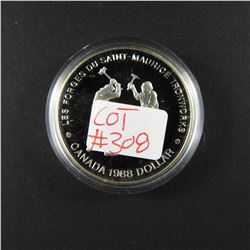 1988 Canadian Commemorative PROOF Silver Dollar IRONWORKERS