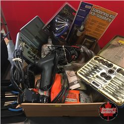 Tray Lot: Drills, Soldering Kit, Pump, etc