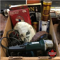 Box Lot: Grinder, Drill, Pressure Washer Valve, Bars Leaks, Grinding Wheels, etc