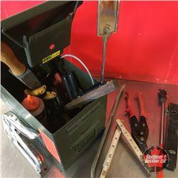 Ammo Box Lot: Variety of Tools (Tin Snips, Pry Bar, Orange Chalk, etc)