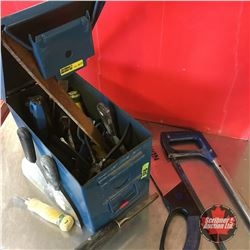 Ammo Box Lot: Variety of Tools (Hand Saw, Hack Saw, Scrapers, Banana Knife, etc)