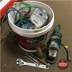 Pail Lot: Tie Downs, Bungee Cords, Rope, Wire, Makita Angle Grinder, etc