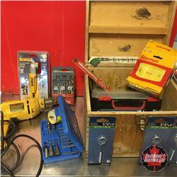 """Dewalt Drill 3/8"""", Box of Drill Bits, Attachments, Hole Saw"""