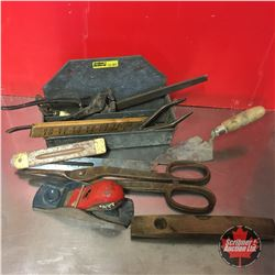 Antique Tool Grouping & Hanging Tin Tray