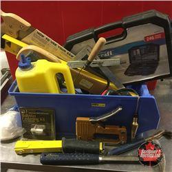 Blue Bin Lot: Handsaw, Drilling & Driving Set, Rafter Gauge, Blue Chalk, etc