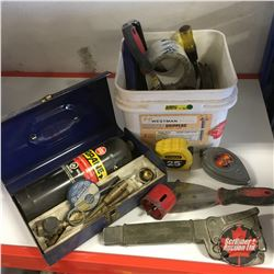 Variety Grouping: Chisels, Chalk Lines, Tape Measures, Torch, etc