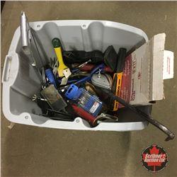 Grey Tote Lot: Variety Carpenter Supplies (Sandpaper, Vise Grips, Paint Scraper, Chalk Line, etc)