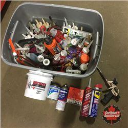 Grey Tote Lot: Variety Carpenter Supplies (Sealants, Sprayfoam, WD40, Tuck Tape, Rockite, Caulking G