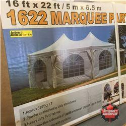 NEW SURPLUS: 16' x 22' Marquee Event Tent (320 sq.ft, one zipper door, 7 windows, heavy duty frames