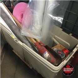 Deck Box Lot: Construction Supplies, Post Hole Digger, Foam SealR, Joist Hangers, Spray Foam, etc