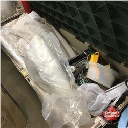 Deck Box Lot: Painting Supplies, Drop Clothes, Plastic
