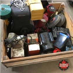 Crate Lot: Variety of Electro Magnets - Battery Charger, Elec. Motor, Briggs & Stratton Engine
